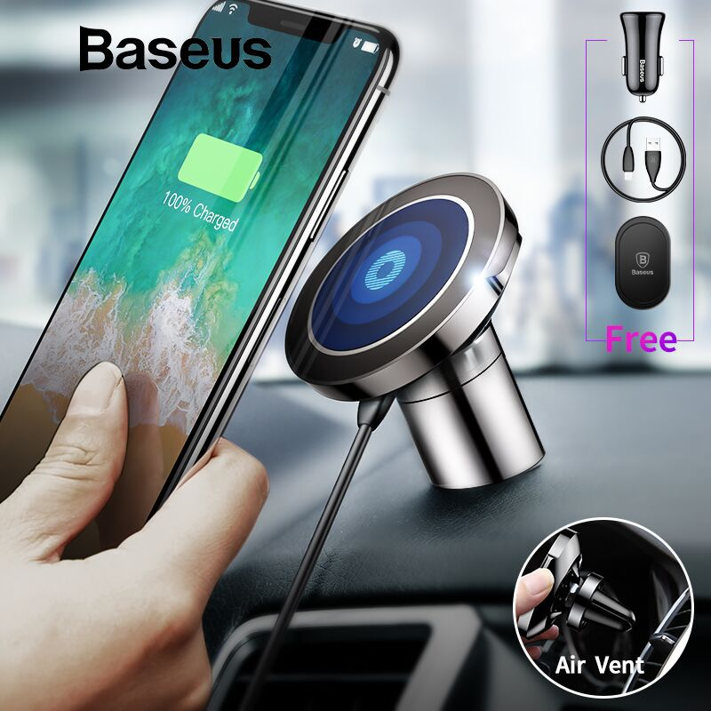 Baseus Magnetic Car Phone Holder For iPhone Samsung Car Wireless Charger Holder Stand Magnet Air Vent Mount Mobile Phone Holder
