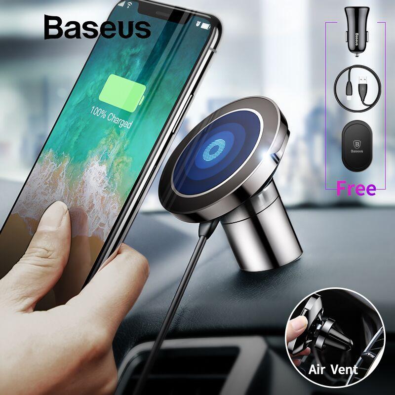 Baseus Qi Drahtlose Ladegerät Magnetische Auto Telefon Halter Für iPhone XS Samsung Halter Stehen Drahtlose Auto Ladegerät Handy Halter