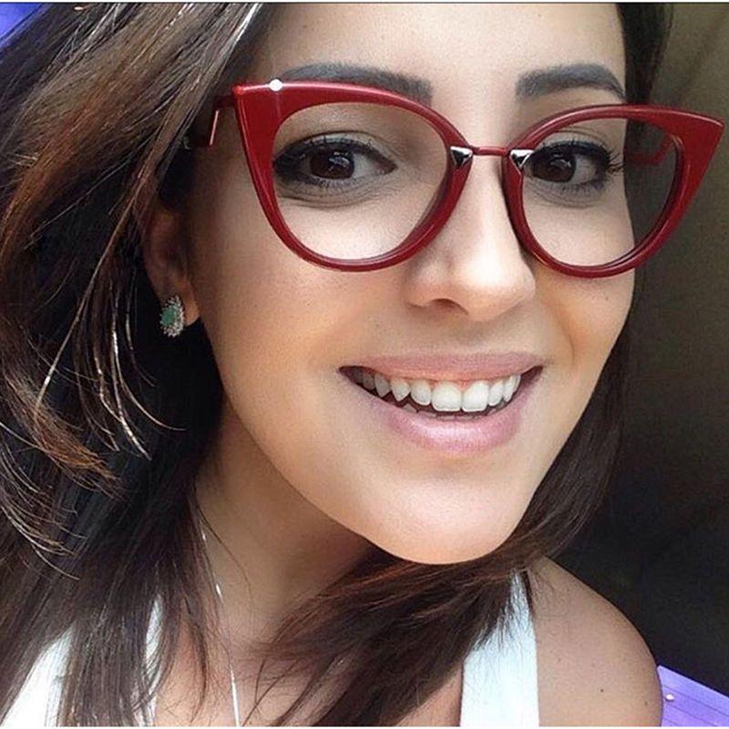 RSSELDN Fashion Brand Women Cat Eye Plain Glasses Women Clear Cat Eye Glasses High Quality Vintage Glasses For Women 97320