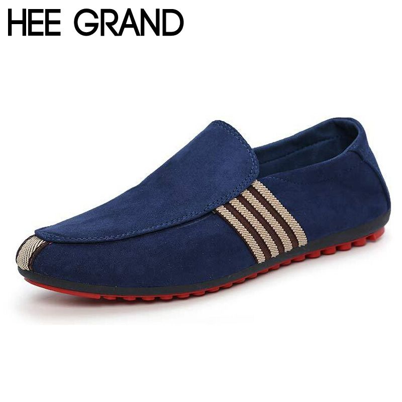 HEE <font><b>GRAND</b></font> Brand 2017 Fashion Slip-On Flat Breathable Casual Male Shoes, Striped Solid Men Summer Fashion Shoes XMR212