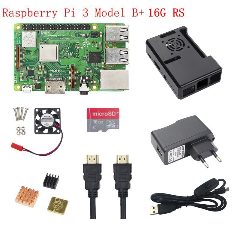 Raspberry Pi 3B+ Starter kit Raspberry Pi 3 Model B+16G SD Card+5V 2.5A Power Adapter+ABS Case+Heat Sink+HDMI Cable for RPI 3B+
