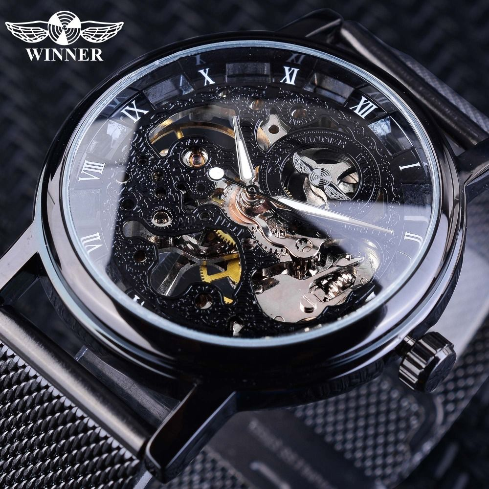 Winner Stainless Steel Mesh Band Transparent Classic Thin Case Transparent Skeleton Mens Mechanical Wrist Watch Top Brand Luxury