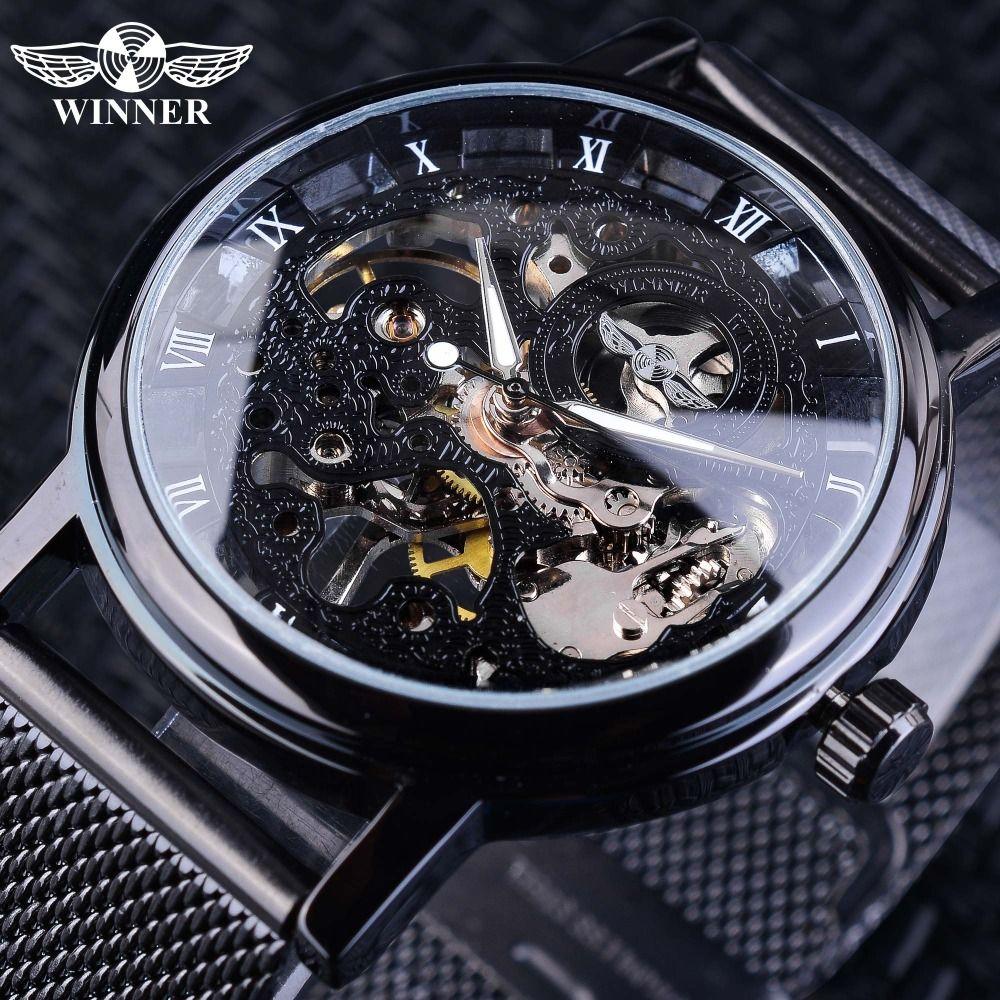 Gagnant acier inoxydable maille bande Transparent classique mince boîtier creux squelette hommes mâle mécanique montre-bracelet haut marque de luxe