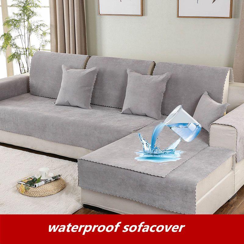 Imperméable à l'eau européenne antidérapant canapé coussin solide couleur sépare bébé pipi pet pipi sofacover quatre saisons universel canapé serviette