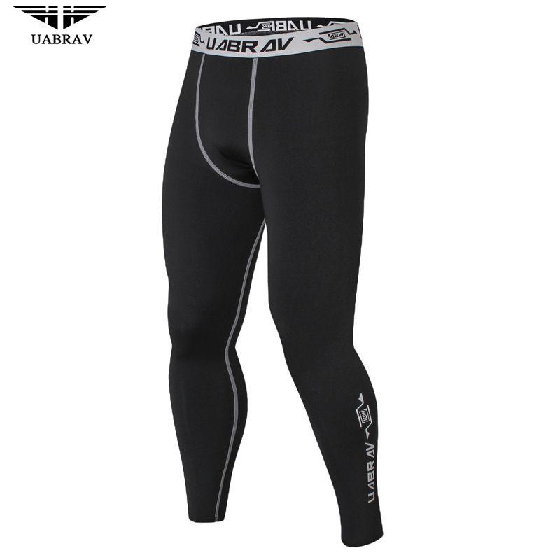UABRAV Men Warmer Sport Pants Hot Fitness And Crossfit Skinny Pants Black Running Pants Jogger Sportswear Compression Sweatpants