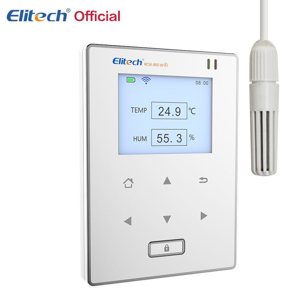 Elitech Temperature and Humidity Wifi Data Logger,Temp and Humidity Wireless Remote Thermometer Recorder for Refrigerator