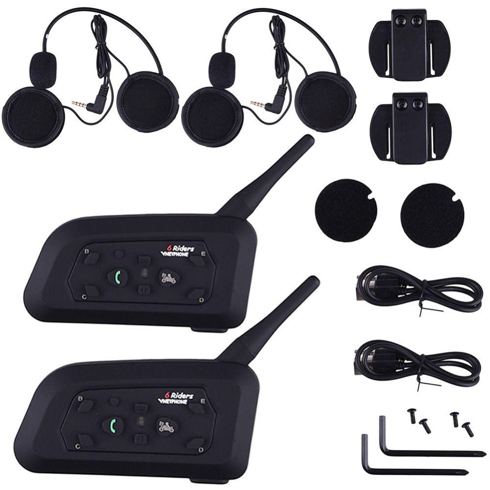 V6 1200M Motorcycle Helmet Intercom Bluetooth Music Reciever 6 Riders Wireless Interphone intercomunicador Headsets MP3 EU plug