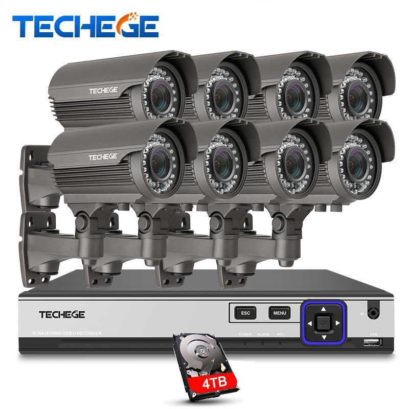 Techege H.265 Security Surveillance Kits 8CH 4K 48V PoE NVR 4MP 2.8-12mm manual lens IP Camera POE System P2P Cloud cctv system