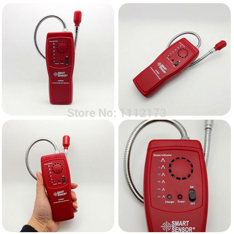 Digital combustible gas analyzer hand-held port flammable gas Leak Detector with Sound Light Alarm+Battery