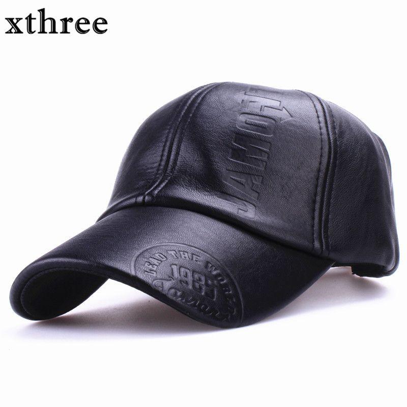 1xthree Nueva moda de alta calidad de otoño invierno de los hombres de cuero moto sombrero Tapa ocasional gorra de béisbol del sombrero del snapback de los hombres al por mayor