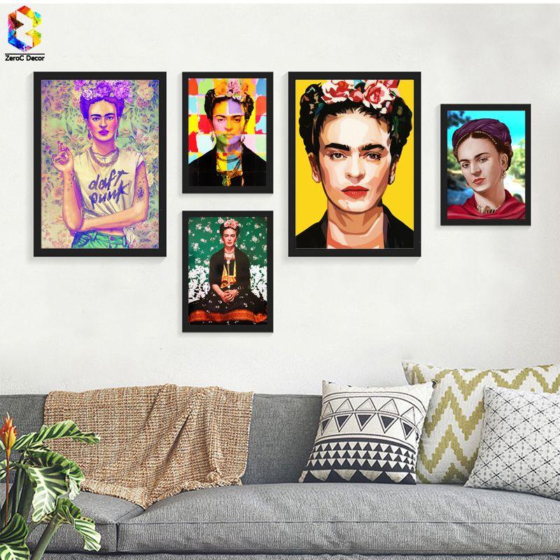 Frida Kahlo Portrait D'art de Mur D'impression de Toile Impressionniste Peintures Affiche et Imprimer Fleur Toile pour Salon Décor