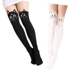 Лидер продаж Аниме Сейлор Мун косплэй костюм для женщин Luna Cat носки для девочек колготки шелковые колготки новорождённых Леггинс