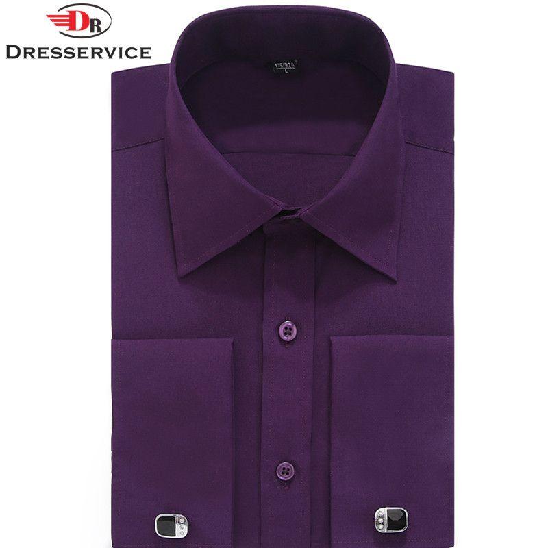 DRESSERVICE Size 4XL 5XL 6XL 2017 Men French Cuff Long Sleeves Fit Dress Shirts (Cufflink Included)