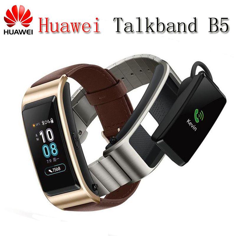 2018 NEUE Huawei TalkBand B5 Sprechen Band Bluetooth Smart Armband Wearable Sport Armbänder Touch AMOLED Bildschirm Anruf Kopfhörer Band