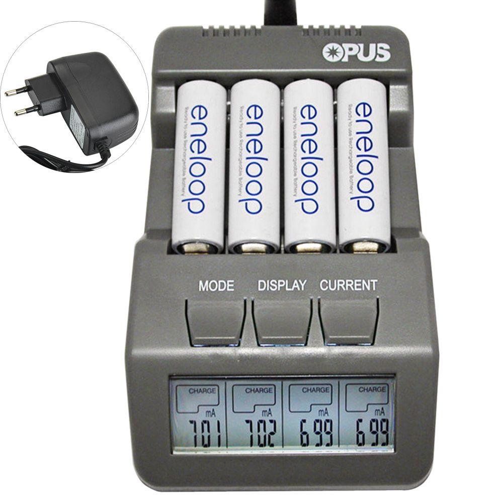 Opus BT-C700 NiCd <font><b>NiMh</b></font> LCD Digital Intelligent 4-Slots Battery Charger For Lithium Ion / Ni-MH / NiCd Batteries US / EU Plug