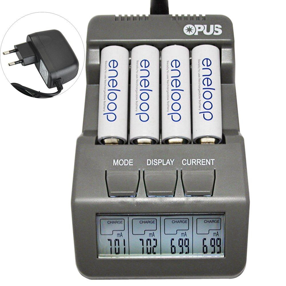 Opus BT-C700 <font><b>NiCd</b></font> NiMh LCD Digital Intelligent 4-Slots Battery Charger For Lithium Ion / Ni-MH / <font><b>NiCd</b></font> Batteries US / EU Plug
