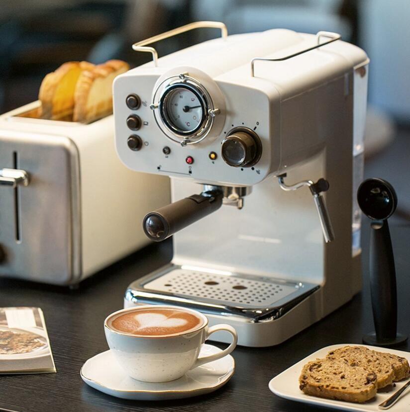 15Bar Kaffee Machinemaker Retro Stil Halbautomatische Italienischen Dampf Typ Milch Schaum 2 und 1 Griffe Leicht Zu Verwenden Espresso Maschine