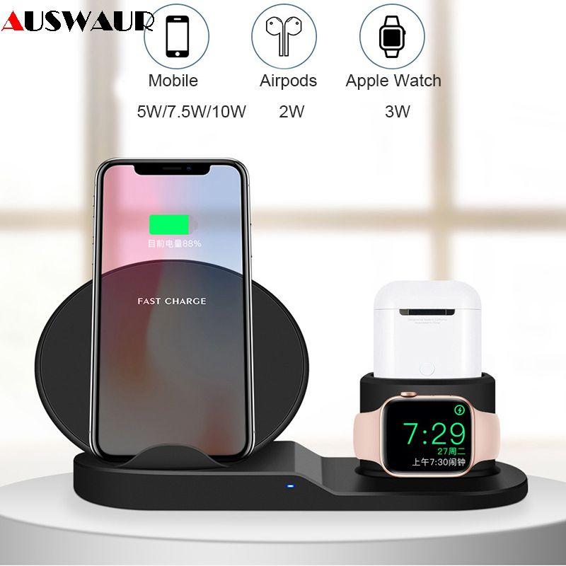 QI sans fil chargeur Stand pour iPhone Airpods Apple Montre Chargeur Dock Station de Charge pour iWatch 1 2 3 4 Sans Fil de charge