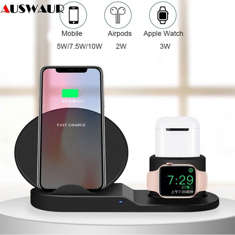 QI wireless charger Stand for iPhone Airpods Apple Watch Charger Dock Station Charge for iWatch 1 2 3 4 Wireless Charging