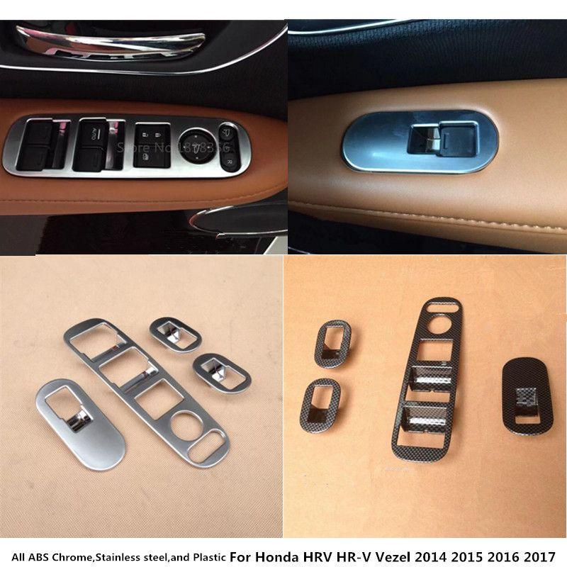 For Honda HRV HR-V Vezel 2014 2015 2016 2017 Car inner door Window glass panel Armrest Lift Switch Button trims frame 4pcs
