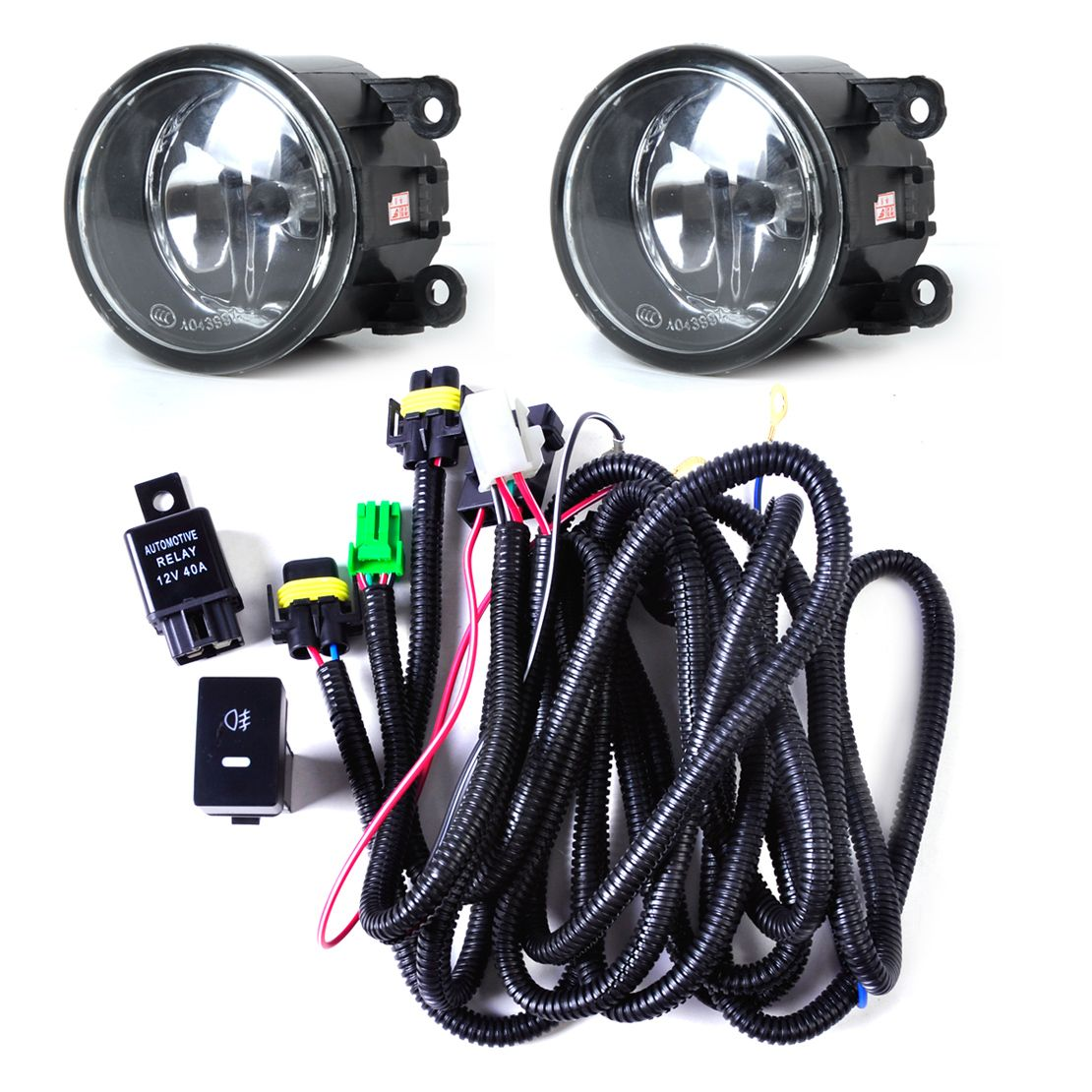 DWCX Black Wiring Harness Sockets + Switch + 2 Fog Lights H11 Lamp 12V 55W Kit for Ford Mustang Lincoln Navigator Subaru Outback