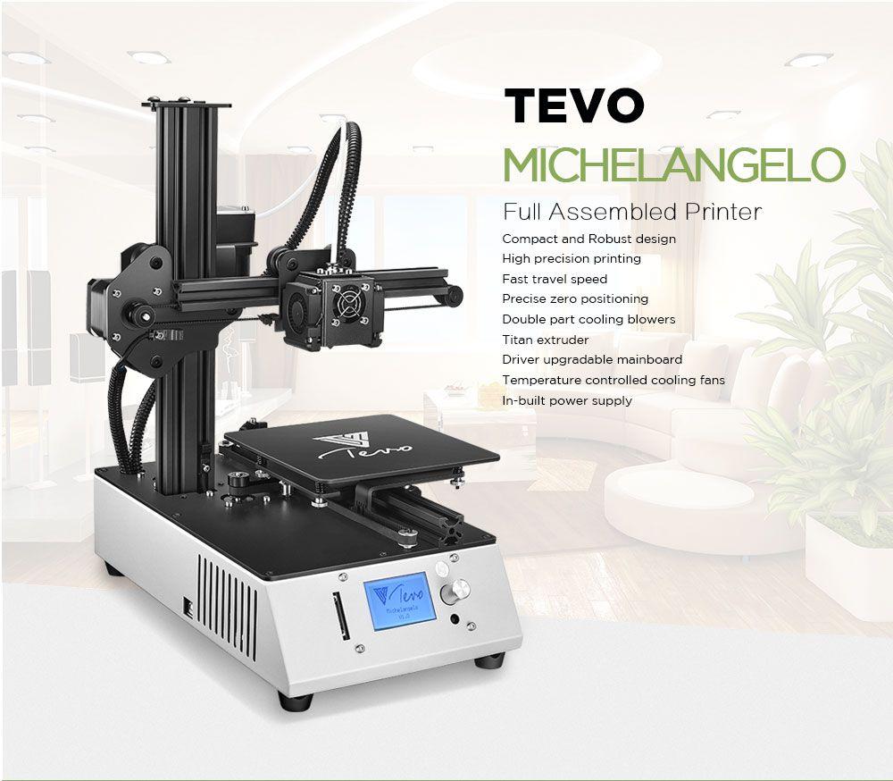 2018 New TEVO Michelangelo Impresora 3D 3D Printer Fully Assembled 3D Printer Kit Full Aluminum Frame with Titan Extruder