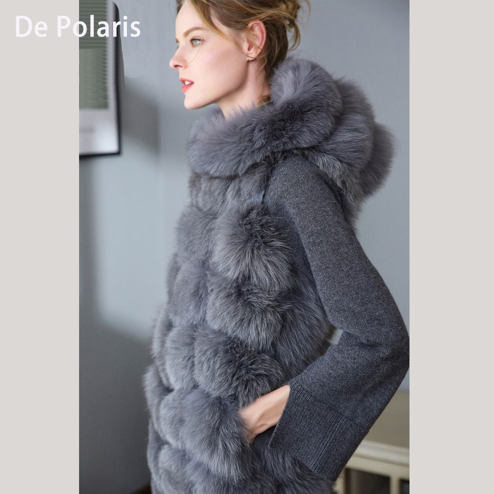 Real Fur Vest with hat Women Fox Fur Natural Fox Fur Vest Women 90CM hat Gray Real Fox Fur Vest hats Long Ship By DHL 5 days