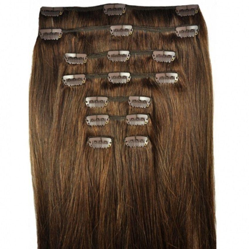 Feibin Clip dans Extensions de cheveux cheveux synthétiques 22 pouces 55 cm Long postiche droite 8 pièces résistant à la chaleur c47