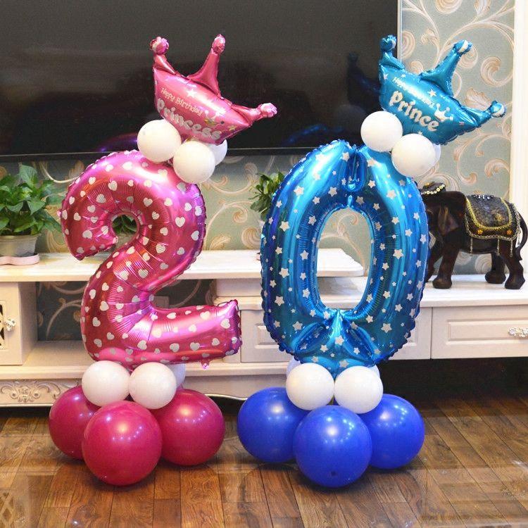 Ballon Colonne Base Numérique post 0-9 ballon conduisent les enfants bébé 100 jours d'anniversaire ballon pilier scène décoration hôtel mise en page