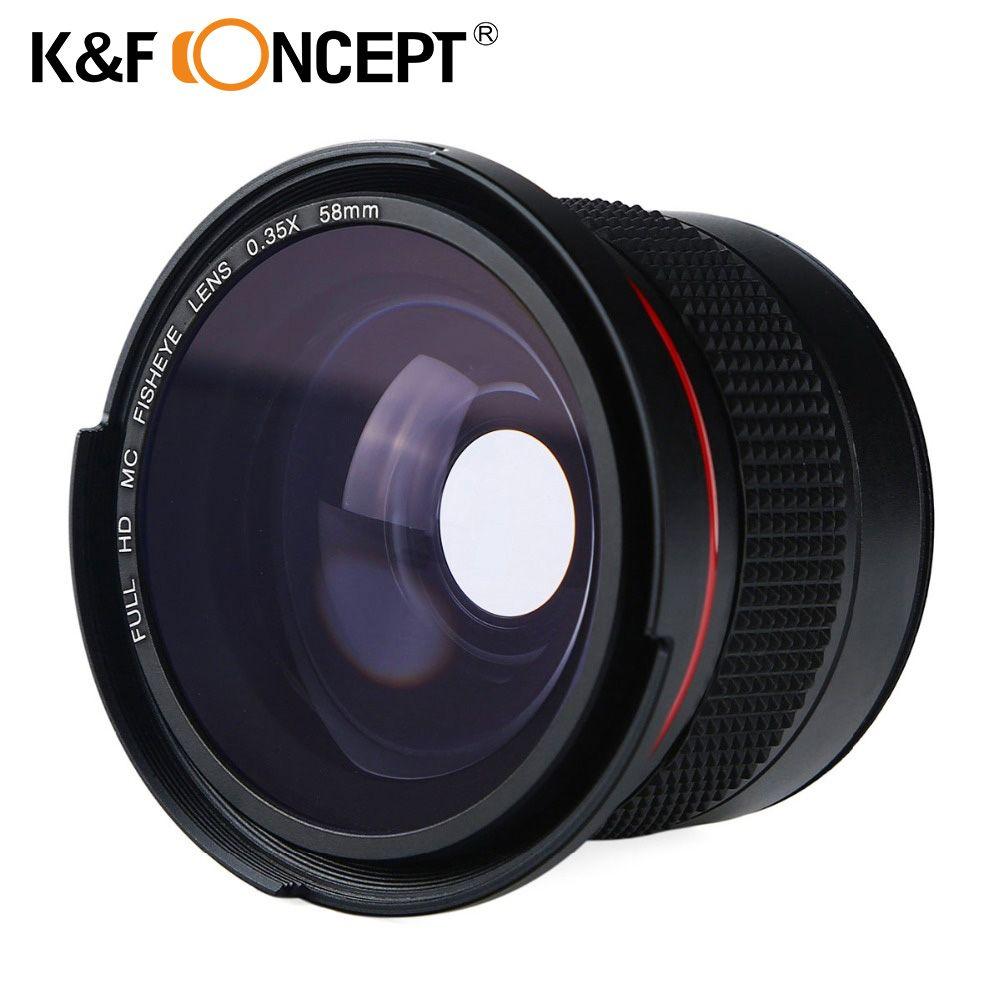 Objectif grand Angle K & F CONCEPT 58 MM 0.35X HD Fisheye + objectif gros plan Macro pour Canon et Nikon