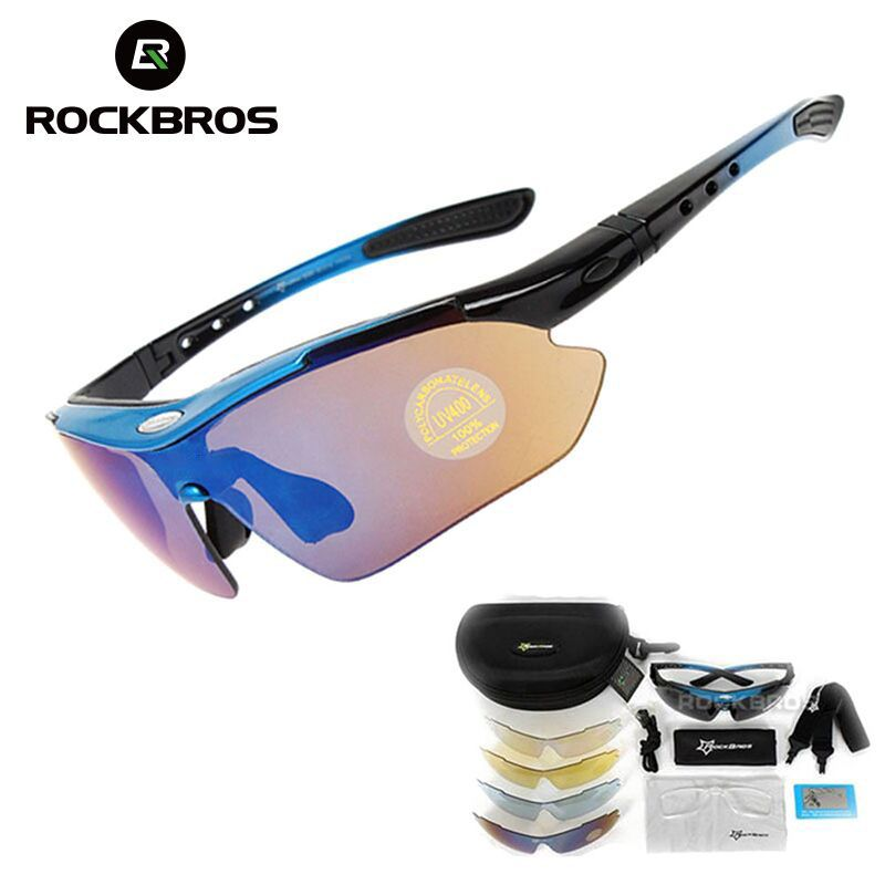 Hot! RockBros Polarized Cycling Sun Glasses Outdoor Sports <font><b>Bicycle</b></font> Glasses Bike Sunglasses 29g Goggles Eyewear 5 Lens