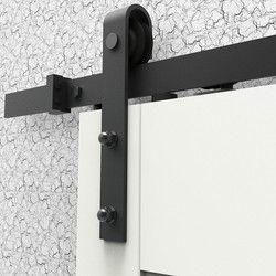6.6FT Soft Closing Antique Black Steel Sliding Barn Wood Door Hardware Closet Track Kit