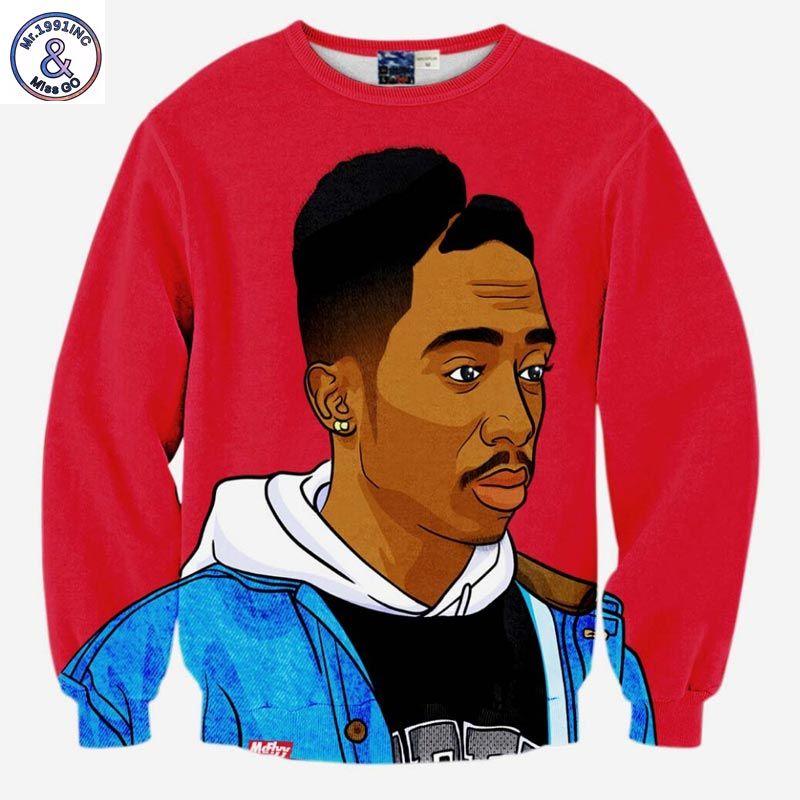 Mr.1991INC Hip Hop sweatshirt männer 3d drucken rap singer Tupac 2pac mode oberteile kapuzenpullis schöne kleidung dünner dünner pullover