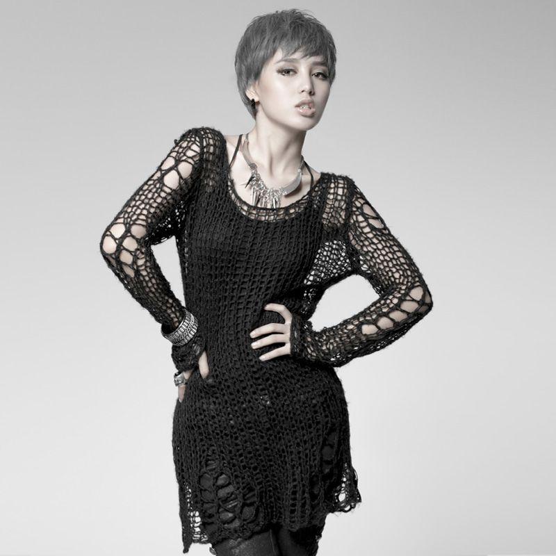 Punk Gothique CHANDAIL mode de Visual Kei Kera Noir Chemise Top TOP Noir Steampunk pull