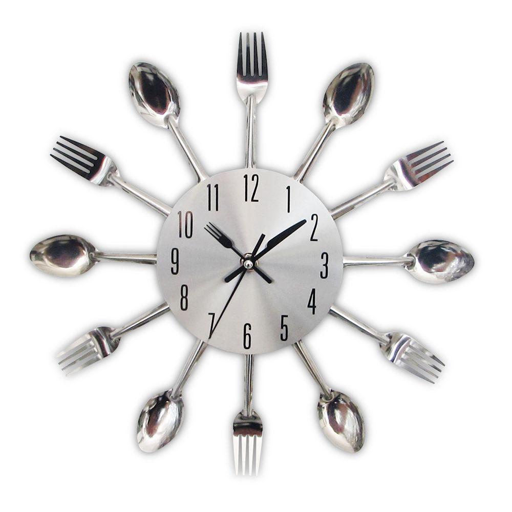 Новинка 2017 года современные Кухня настенные часы серебряные столовые приборы Часы ложка Вилы Творческий Наклейки на стену механизм Дизайн ...