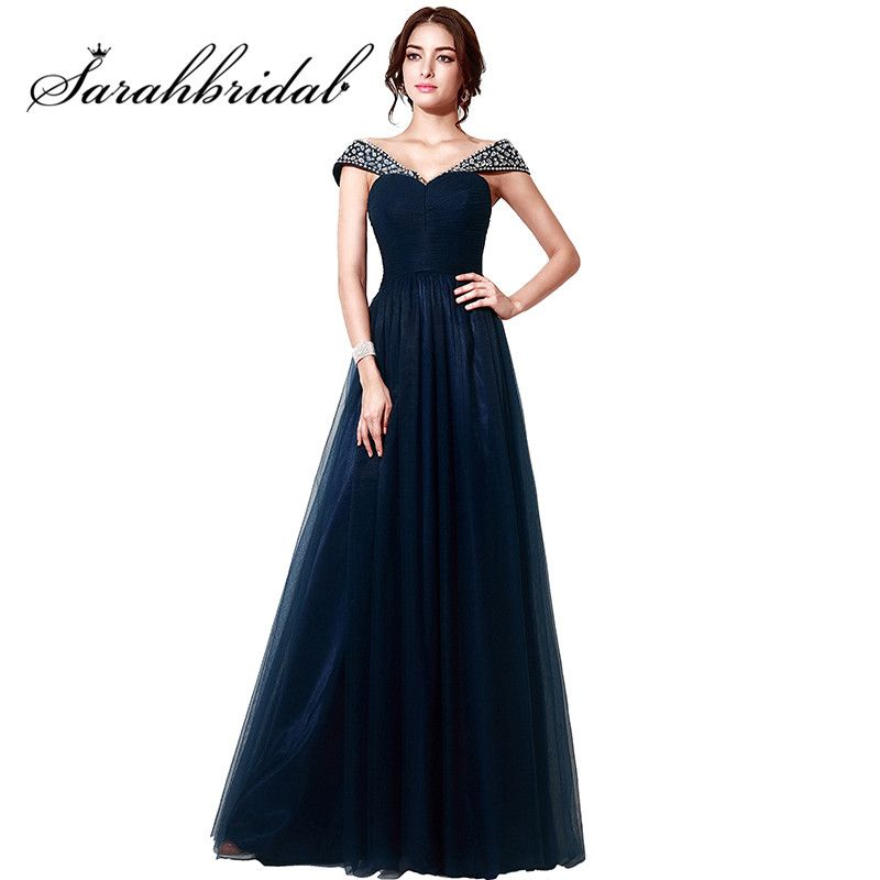 Navy Blue Elegant Evening Dresses 2017 Cheap Boat Neck Tulle Long Handmade Crystal Prom Party Gowns Floor-Length SD204