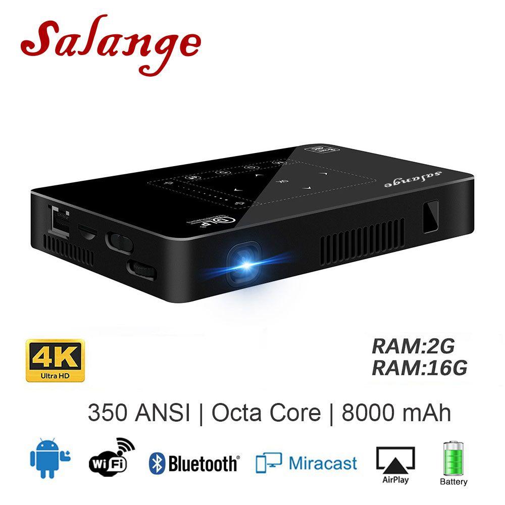 Salange P10 Mini Projektor Handy Android WIFI Bluetooth 8000 mah Batterie HDMI Unterstützung 4 karat 1080 p Tragbare Android beamer