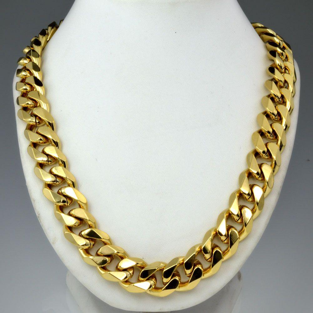 Hommes à la mode gold tone chaînes collier n276 60 cm 50 cm Longueur