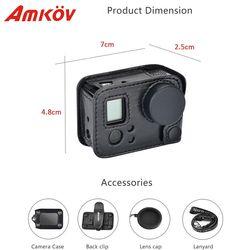 Amkov AMK-GPRO for case gopro hero 3 Leather Action Camera Case for Gopro HERO 3 HERO 4 Protective Frame Go pro Acessorios