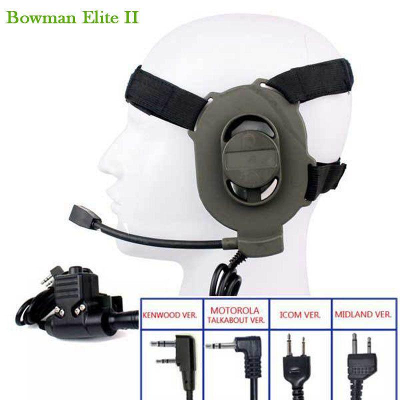 Tactical Bowman Elite II Headset with U94 PTT for Kenwood Motorola Icom 2 Pin Midland Walkie Talkie Radios Military Headsets ptt