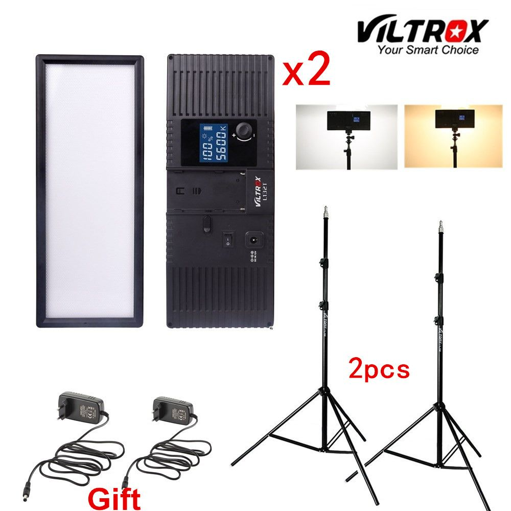 Viltrox L132T Bi-Color Dimmable LED Video Light x2 +2x Light Stand +2x AC Adapter for DSLR Camera Studio LED Lighting Kit