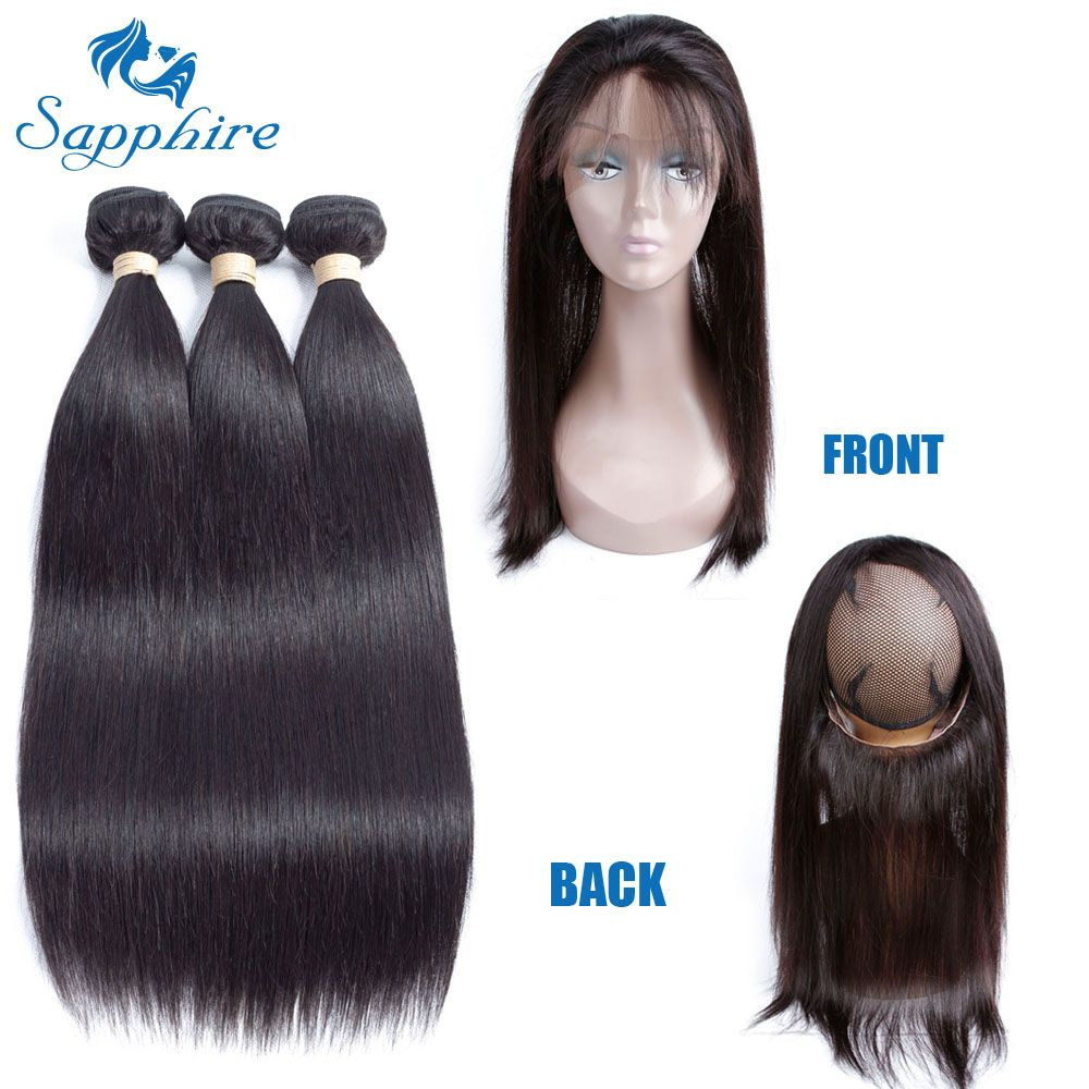 Sapphire Straight Remy Human Hair Bundles With 360 Lace Frontal Closure 1B# Color For Hair Salon High Ratio Longest Hair PCT 15%