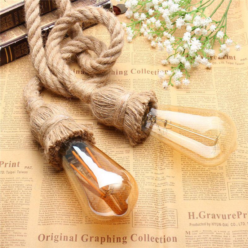 Single/Double Head Retro Vintage Rope Pendant Light Lamp Loft Industrial E27 Pendant Lamp Edison Bulb For Living Room