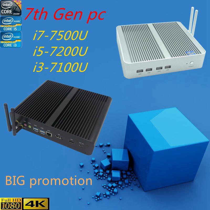 Intel Kaby Lac Core i5 7200U 7e Gen CPU HTPC fenêtre 10 i3 7100u i5 7200u i7 7500u 4 K HD Intel HD Graphics 620 Sans Ventilateur PC
