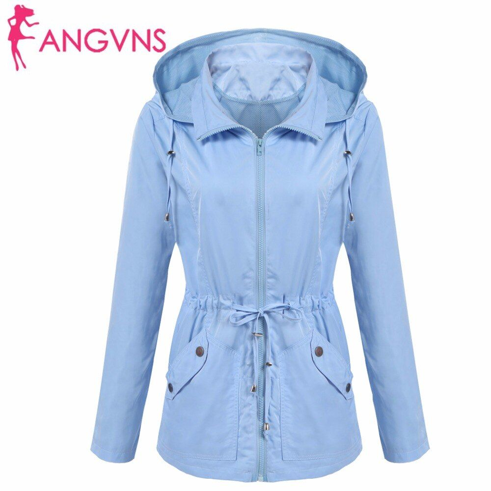 ANGVNS Women Basic Jackets Autumn Waterproof Detachable Hooded Long Sleeve Casual Drawstring Lightweight Jacket Outwear Coat