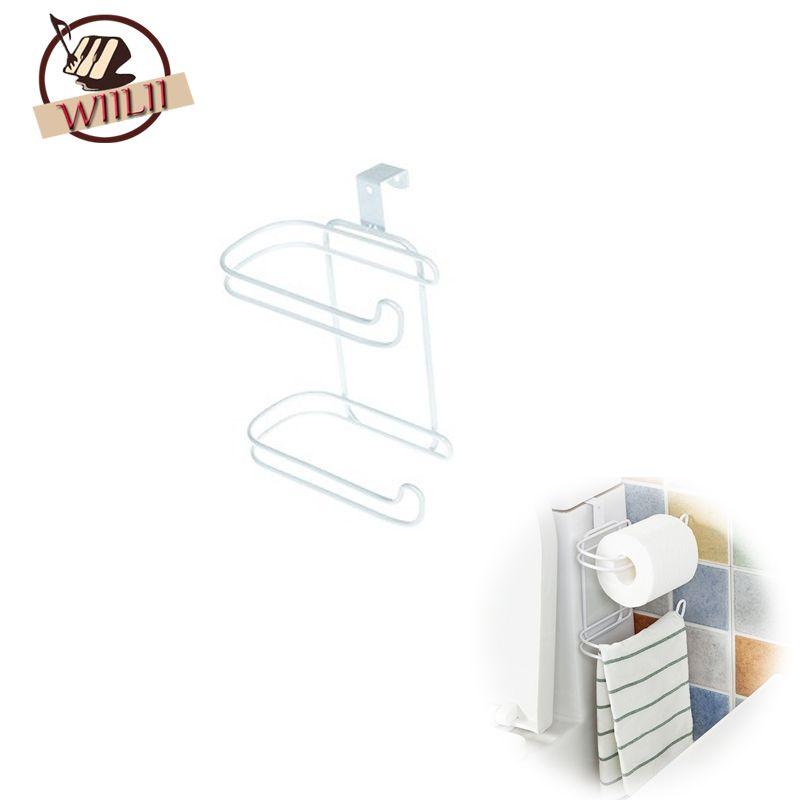 Fer 2 Couches Toilettes Rouleau de Papier Crochet Étagère Salle De Bain Suspendu Organisateur Cuisine Placard Porte Porte-Serviette