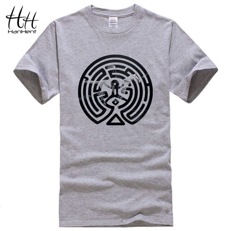 HanHent 2018 nouveau Westworld labyrinthe imprimé t-shirts hommes à manches courtes o-cou coton West World Dolores hommes mode T-shirt TV t-shirts