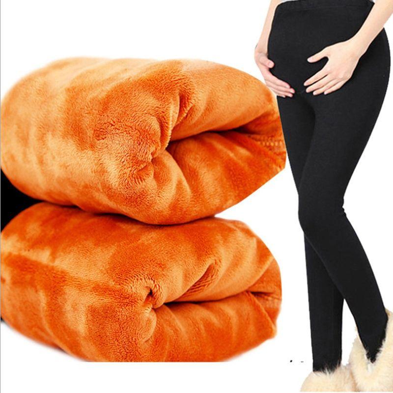Ropa de invierno para las mujeres embarazadas maternas pantalones engrosamiento de terciopelo pantalones de las mujeres embarazadas las mujeres embarazadas leggings pantalones calientes