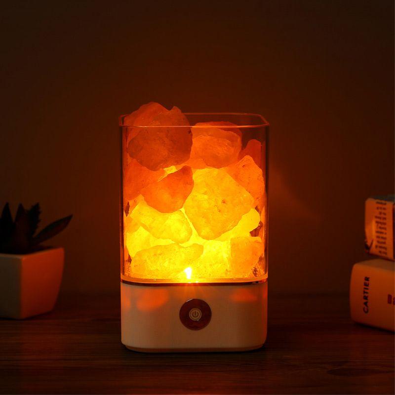 USB lumière cristalline naturel lampe de sel d'himalaya lampe à led purificateur d'air Mood Créateur Intérieur chaud lampe de bureau chambre lampe à lave