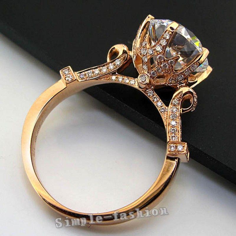 Bijoux de luxe Rose Or Round cut 2ct Pierre AAAAA zircon cz 925 En Argent Sterling Engagement Band Anneau De Mariage pour les femmes